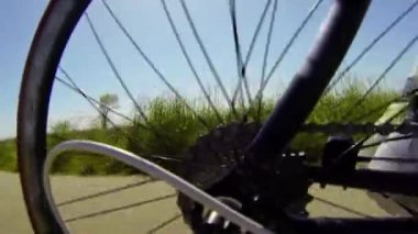 Detail view on a bycicle gear system — Stock Video