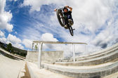 Bmx big air jump — Stock Photo