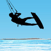 Kiteboarder aerial jump silhouette — Stock Vector