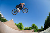 High BMX jump — Stock Photo