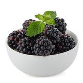 Blackberries in White Bowl — Stock Photo