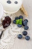 Jogurt s čerstvými borůvkami — Stock fotografie