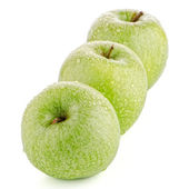 Three fresh green apples — Stock Photo
