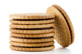 Sandwich biscuits with chocolate filling — Stock Photo