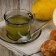 Stock Photo: Lemon tea and cookies
