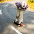 Downhill skateboarder in action — Stock Photo