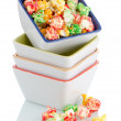 Pile of ceramic bowls of popcorn — Stock Photo