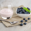 Yogurt with fresh blueberries — Photo