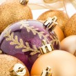 Golden christmas balls — 图库照片