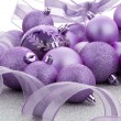 Purple christmas balls — Stock Photo