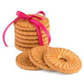 Festive wrapped rings biscuits — Stock Photo