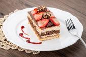 Chocolate strawberry cake — Stock Photo