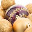 Foto Stock: Golden christmas balls