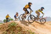 School riders on trainings — Stock Photo