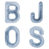 Letters J, O, B and S in ice — Stock Photo