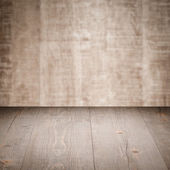Beige table with wall — Stockfoto