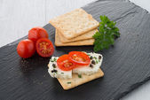 Crispbread with fromage — Stock Photo