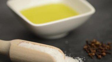 Cooking ingredients for mediterranean cuisine — Stock Video