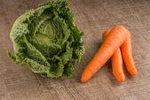 Karotten und grünen bohnen — Stockfoto