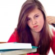 Girl Angry while doing School Work — Stock Photo #13406354