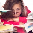 Girl Overwhelmed with School Work - Stock Photo