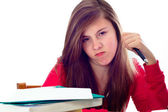 Girl Angry while doing School Work — Stock fotografie