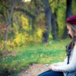 Autumn Girl with Cellphone — Stock Photo