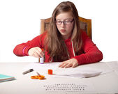 Girl with School Project — Foto Stock