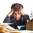Stressed woman and finances — Stock Photo #19120741