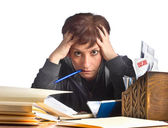 Stressed woman and finances — Stock Photo