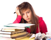 Stressed Girl with school books — Stock Photo