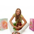 The young beautiful girl with packages — Stock Photo #2940993