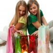 Two beautiful girls with packages — Stock Photo #2941006