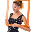The girl with the frame of the picture — Stock Photo