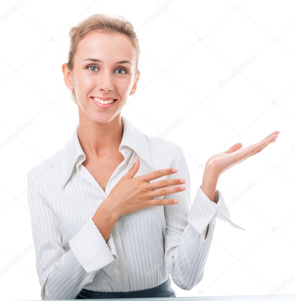 Young woman in office attire. The figure is isolated on a white background with the clipping path — Stock Photo #14693489