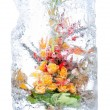 Delicate bouquet of flowers in the ice — Stock Photo