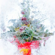 Stock Photo: Collage . delicate bouquet of flowers in ice