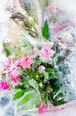 Eisige rosen — Stockfoto
