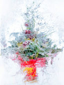 Collage . delicate bouquet of flowers in the ice — Stock Photo
