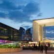 Modern architecture in La Defense late at night — Stock Photo
