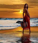 Caucasian woman standing in bikini — Stock Photo