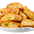 Hard, dry biscuit with pistachios — Stock Photo