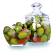 Stock Photo: Olives in a glass , Preserved vegetables composition