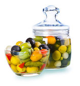 Assorted olives in a glass , Preserved vegetables composition — Stock Photo