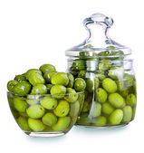 Olives in a glass , Preserved vegetables composition — Stock Photo