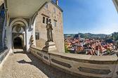 Krumlov town from castle bridge , Czech — Stock Photo