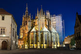 Rear view of St. Vitus Cathedral at night  — Stock Photo