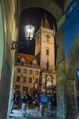 Old Town Hall Tower in Prague seen from Melantrichov passage — Stock Photo