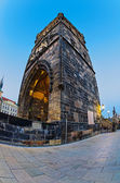 Tower on Charles Bridge in Prague early in the morning at sunris — Stock Photo