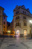 Street view illuminated at night in the magical city of Prague on Sep 07, 2013 — Stock Photo